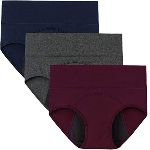 INNERSY Women's Period Underwear High Waisted Postpartum Maternity Panties 3 Pack(Red&ensign&grey With Dark Lining,3X-Large)