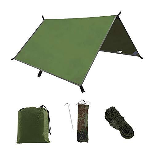 3M x 3M Camping Tent Tarp Waterproof Tent Tarpaulin Shelter Muti-Funtion Rain Fly Sheet For Backpacking Hiking Camping Hammock Picnic Shelter Tent Footprint Beach Blanket