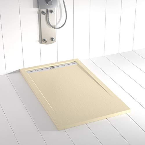 Shower Online Plato de ducha Resina FLOW - 90x190- Textura Pizarra - Antideslizante - Todas las medidas disponibles - Incluye Rejilla Inox y Sifón - Crema RAL 1015