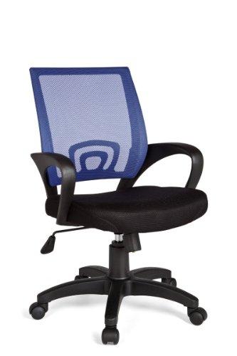 Amstyle Design bureaustoel Rivoli bureaustoel stof draaistoel met armleuningen jeugdstoel bureaustoel in hoogte verstelbaar net 120 kg net zonder hoofdsteun kantelfunctie lendensteun blauw