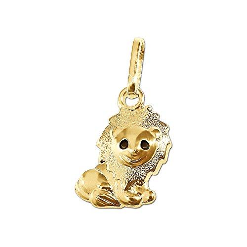 Clever Schmuck Goldener kleiner Kinder Anhänger Mini Löwe 10 mm glänzend Mähne seidenmatt Augen schwarz lackiert 333 GOLD 8 KARAT für Junge oder Mädchen