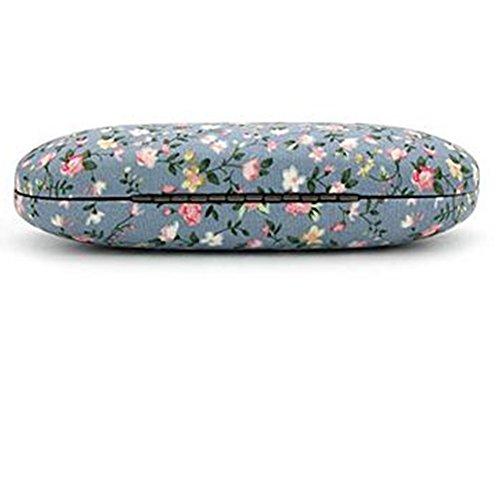 lumanuby Brillenetui Faltbare Glas Tasche Cute Flower Tuch Fresh einfach Gläser Box Blume Print Design schützen Brille Box, baumwolle, blau, 16.5*6.5*3.5cm