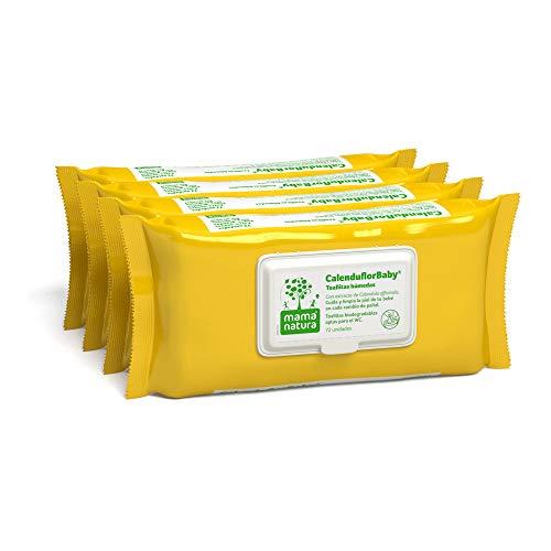 CalenduflorBaby Toallitas húmedas Bebé Mama Natura, Biodegradables con Extracto Calendula officinalis. 4 packs x 72 uds (288 unidades) - Aptas para el WC…