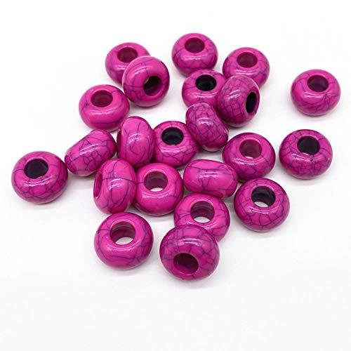 20 piezas 15x9mm cuentas de acrílico de gran agujero cuentas de espacio de círculo oblato para joyería g colgante de pulsera DIY-22