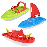 FUN LITTLE TOYS Bath Boat Toy, Pool Toy, 3 PCs Yacht, Speed Boat, Sailing Boat, Aircraft Carrier, Bath Toy Set for Baby Toddlers, Birthday Gift for Kids