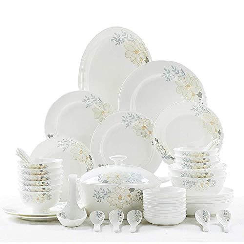 WECDS-E Juego de vajilla de cerámica Vajilla de Cocina Plato de Cena Platos y Platos de cerámica Tazones 56 Piezas Juego de Platos Combinados