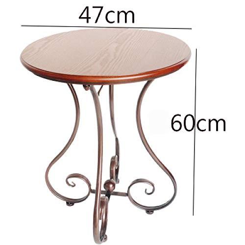 Eettafel LKU Moderne salontafel Europese en Amerikaanse stijl witte ronde tafel metaal en houten huis, maat 2 bruin