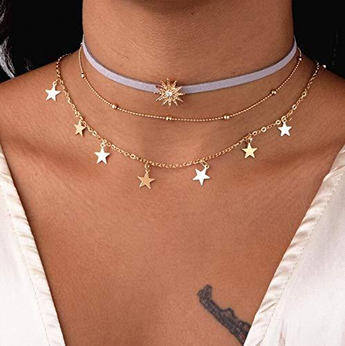 Jovono Collar de múltiples capas con diamantes de imitación de estrella y sol para mujeres y niñas