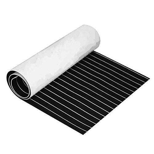 No logo YO-TOKU Dekorative Materialien, mit weißen Linien Boot Flooring Faux Teak Decking-Blatt-Auflage 230x90x0.5cm Eva-Schaum-Schwarz