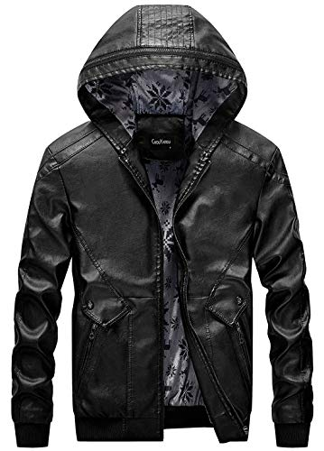 chouyatou Men's Stylish Hooded Zip-Front Fleece Lined Moto Pu Leather Bomber Jackets (Small, Black)