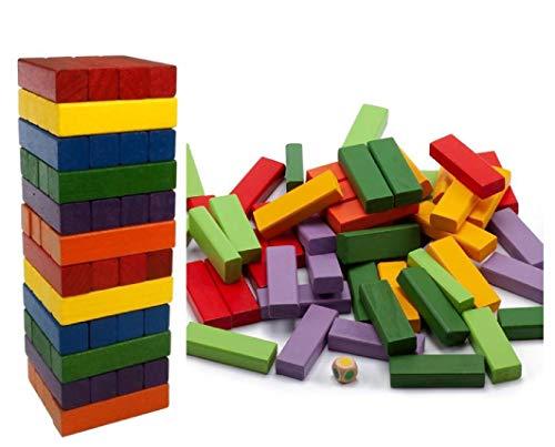 ML Bloques de Madera Coloridos Juegos didácticos de Tablero de apilamiento de Torre 48 Piezas para niños de 3 años en adelante