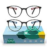 2 Gafas Anti Luz Azul Niños - Baytion Gafas Filtro Azul para Computadora para PC y TV con Marco TR90 Protección 100% UV, Sin Receta y Ati Fatiga Visual