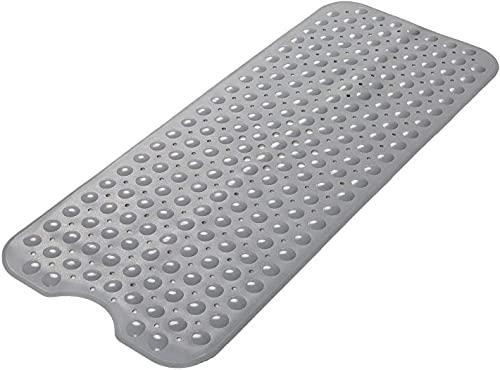 Delgeo Alfombra de baño Extra Larga Anti-Moho, Antideslizante, PVC de Caucho Natural con Ventosa. Alfombrilla para baño, Lavable a máquina, 100 x 40 cm (Gris Oscuro)