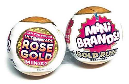 5Surprise Mini Brands Gold Rush Collection Exclusive Mini Brand Toys!! Ultra Rare Rose Gold Mini's!! Set of 2 Mystery Balls