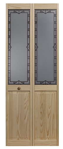 Pinecroft 31.5 in. x 80 in. Design Tech Glass Decorative 1/2-Lite Over Raised Panel Pine Wood Interior Bi-fold Door