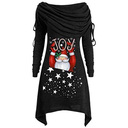 YBWZH Weihnachtspullover Damen Große Größen Rollkragenpullover mit Santa Claus Asymmetrisch Weihnachtspullis Weihnachten Übergröße Lange Falten über Kragen Tunika Top Bluse Tops