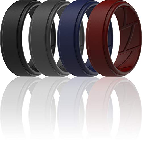 ThunderFit Silicone Wedding Ring for Men (Black, Dark Grey, Navy Blue, Dark Red, 9.5 - 10 (19.8mm))