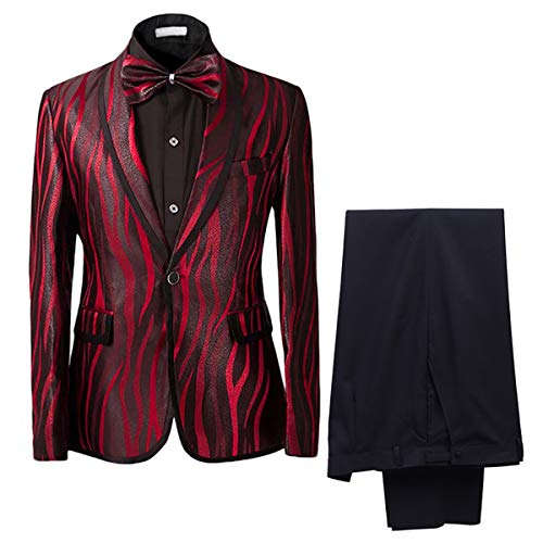 Cloudstyle Men's Suit Shawl Collar One Button Red Dress Suit Smart Fit Stylish Blazer and Pants, Red, Large