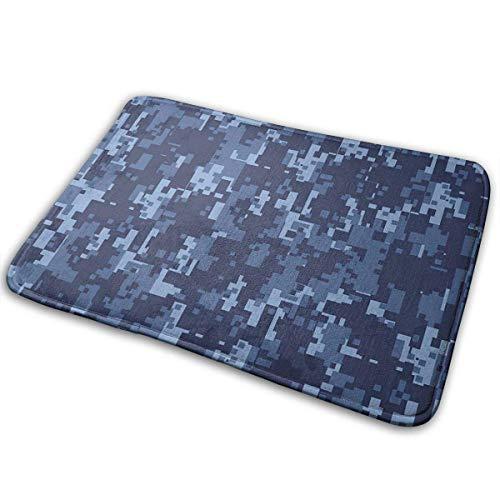 Odelia Palmer Felpudos Camo Militarista Digital Efecto de Las Fuerzas Armadas Patrón Grunge Moda en Azul Arte temático Azul Oscuro Azul Claro 23.6 'x15.7'