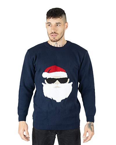 """NOROZE, maglione natalizio da uomo e da donna, motivo con verso di Babbo Natale """"HoHoHo"""" Occhiali da sole Santa Navy M"""
