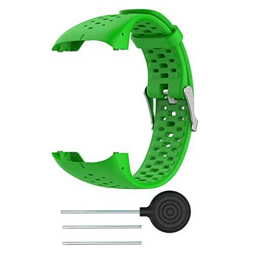 Silikon Armband kompatibel für Polar M400 M430, Silikonarmband Uhrenarmband Sport Ersatz Armband Sportarmband Ersatzband kompatibel für Polar M400 M430 20mm (Grün)