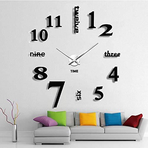 Afaneep Reloj de Pared 3D Silencioso DIY Gran Moderno Reloj sin Marco Adhesivo Etiqueta de Pared Decoración Ideal para la Casa Oficina Hotel - 2 Años de Garantía