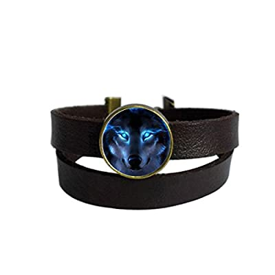 LooPoP Vintage Punk Dark Brown Leather Bracelet Nordic Wiccan Wolf Belt Wrap Cuff Bangle Adjustable