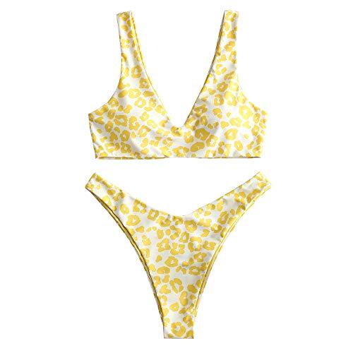 ZAFUL Set Bikini a Due Pezzi da Donna, Costume da Bagno Sexy Imbottito con Stampa Leopardata Imbottita per L Estate