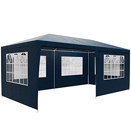 Casaria Pabellón Rimini Azul 3x6m 18m² Carpa de jardín con 6 Paredes y 18 Ventanas Cenador UV50+