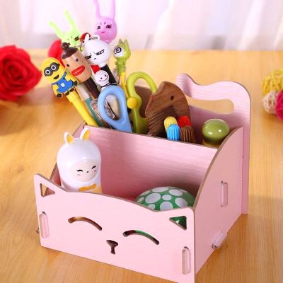 CellCase Wooden DIY Assemble Cute Cat Pen Pencil Storage Box Cosmetic Holder Desktop Organizer for Home Office (Pink)