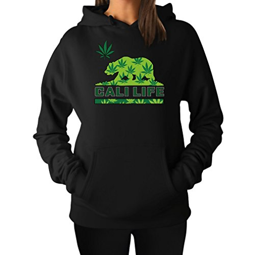 TeeStars – Moletom com capuz feminino Cali Life California Republic Bear Weed, Preto, XL
