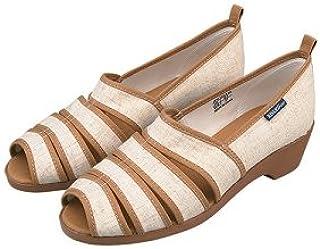 [KISSA suport] サイズ:22.0cm キサスポーツ オープントゥ パンプス KS8230-203 ベージュ ストライプ 生地 ミドルヒール レディース 靴 お取り寄せ商品