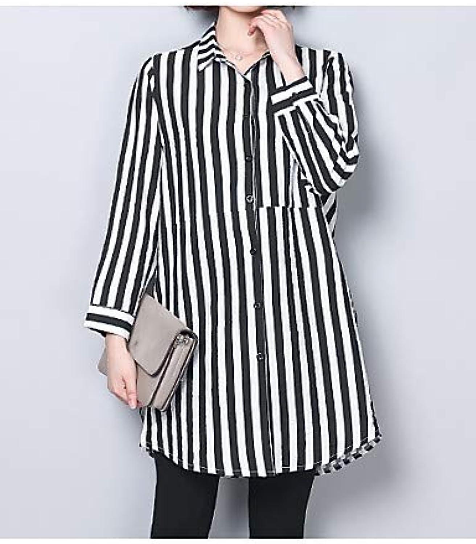 Women's Plus Size Shirt  Striped Shirt Collar