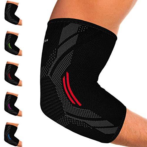 Kinetic Evolution Ellenbogenbandage für Damen und Herren, Sport Kompression, Atmungsaktiv, stabilisiert und unterstützt, Sportbandage für Tennis Voleyball Golf Handball (L, Rot)