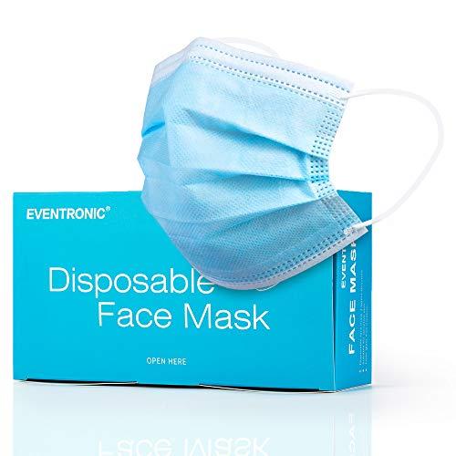 Eventronic Gesichtsmaske 50 Stück Dreischichtige Einweg-Schutzmaske Schutzmaske Atmungsaktive und komfortable elastische Ohrmuscheln Filter Gesichtsschutz