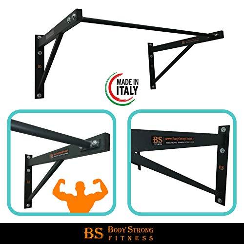 Barra/Sbarra per trazioni Muro Parete+Kit Fissaggio Standard Fitness Body Building Bicipiti Schiena 100x50 cm
