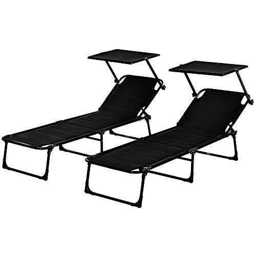 Sunloungers Sun Loungers Set of 2 Deck Chair with Adjustable Backrest & Canopy Sun Shade 150kg Capacity Portable & Folding Beach Chair Sunbed Chaise Lounge Garden Chairs Set of 2 for Outdoor (Black)