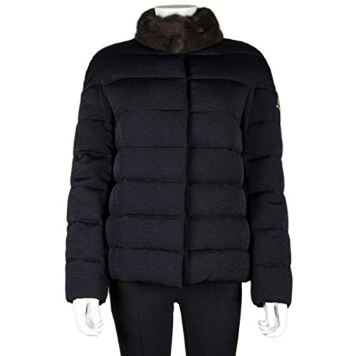 Moncler Women's Down Puffer Navy Jacket Coat with Brown Mink Fur Collar