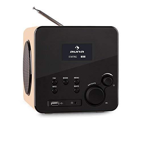 auna - Radio Gaga AN, Internetradio, Digitalradio, WLAN-Radio, LAN, DAB/DAB+ / UKW-Tuner mit RDS, AUX-Eingang, Line-Ausgang, MP3-USB-Port, Equalizer, Wecker, Fernbedienung, ahorn