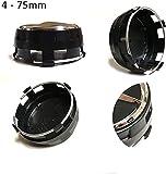 Tapacubos de repuesto 4 x 75 mm, color negro, elevado, compatibles con tachuelas de llantas de aleación – Clase A, B, C, E, CLK, GL, M, ML y SLK