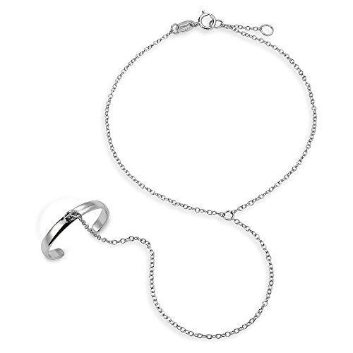 Kette Tänzerin Slave Gliederarmband Für Damen Und Ringe 925 Sterling Silber Verstellbar