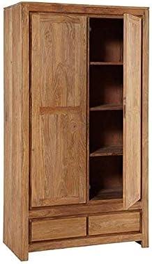 BL Wood Furniture Sheesham Wood Multipurpose Storage Boted Wardrobe Almirah for Living Room | Teak Finish