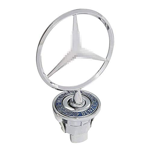 L&U Star Badge Hood Logo, Zinc Alloy Car Frond Hood Ornament Emblem Chrome Eagle Badge 3D Logo For Mercedes Benz C E S W Class