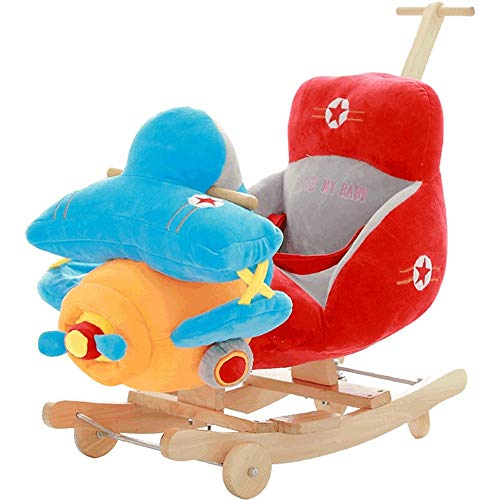 LALAWO Kinderstoel Kindermuziek Rocking Chair Rocking Horse Kleine Houten Paard Baby Speelgoed Met Push Rod Rocking Cradles 60 * 28 * 45cm