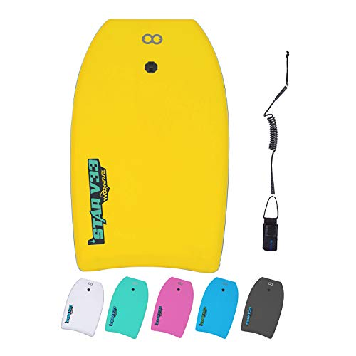 WOOWAVE Bodyboard 33-inch/37-inch/42-inch Premium EVA Body Board with Coiled Wrist Leash,Super Lightweight EPS Core and HDPE Slick Bottom,Perfect Surfing for Kids Teens and Adults(33 inch, Yellow)