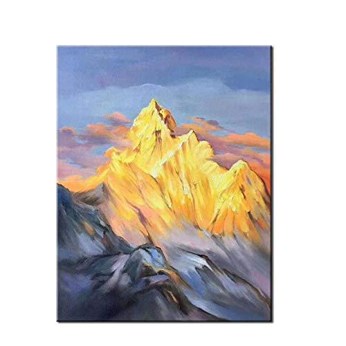 Gtfzjb Grote Hoge Kwaliteit Merk Mes Olie Schilderen Op Doek Handgeschilderd Abstract Vulkanisch Modern Huis Muurdecoratie Palet Picture Frame
