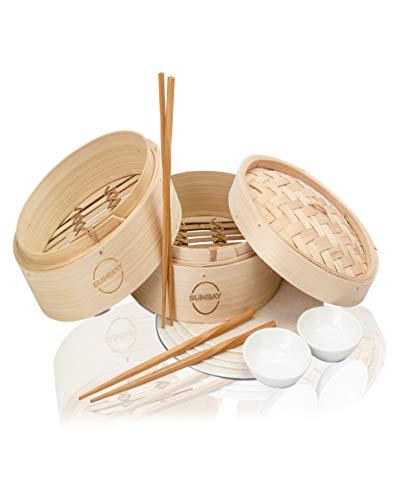 Sumbay - Cuoci a Vapore da Cucina in bambù, cestello per Cottura a Vapore, Rullo di Primavera, Wonton, Dim Sum, Pollo, Pesce, Verdure, PDF ricetta Cucina Asiatica
