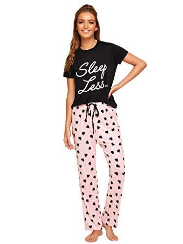 DIDK Damen Pyjama Set Kurzarm Shirt mit Buchstaben Muster Schlafhose mit Kordelzug Schlafanzug Set Schwarz #714 M