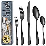BEWOS Besteck Set für 6 Personen, 30 teilig Schwarz Mattiert Essbesteck Set inkl. Messer, Gabel, Löffel, Besteck Edelstahl, Spülmaschinenfest