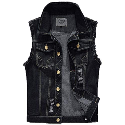 Mens Casual Denim Vest Sleeveless,Vintage Jean Vest Button Down Black